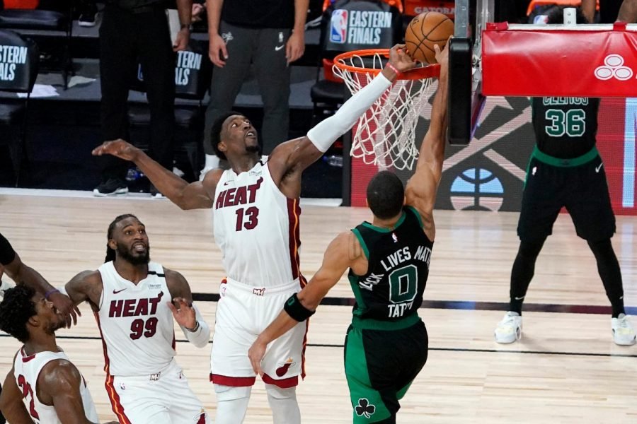 Jayson Tatum is rejected by Bam Adebayo in a game one loss to the Heat. Photo courtesy of The Associated Press.