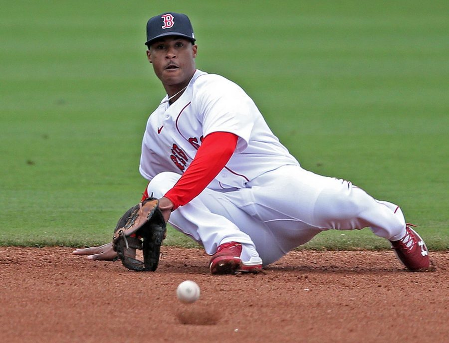 Red Sox second base prospect Jeter Downs fields a ground ball.