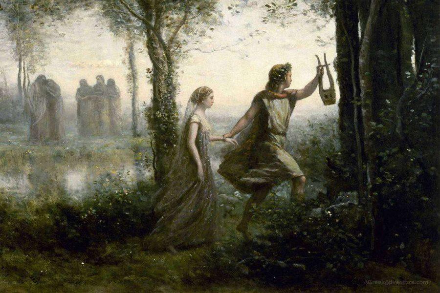 The myth of Eurydice and Orpheus.