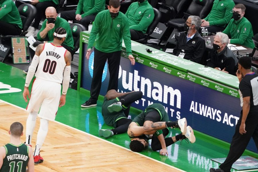 Jaylen Brown and Jayson Tatum collide late in a loss to the Portland Trailblazers. Photo by David Butler II-USA TODAY Sports