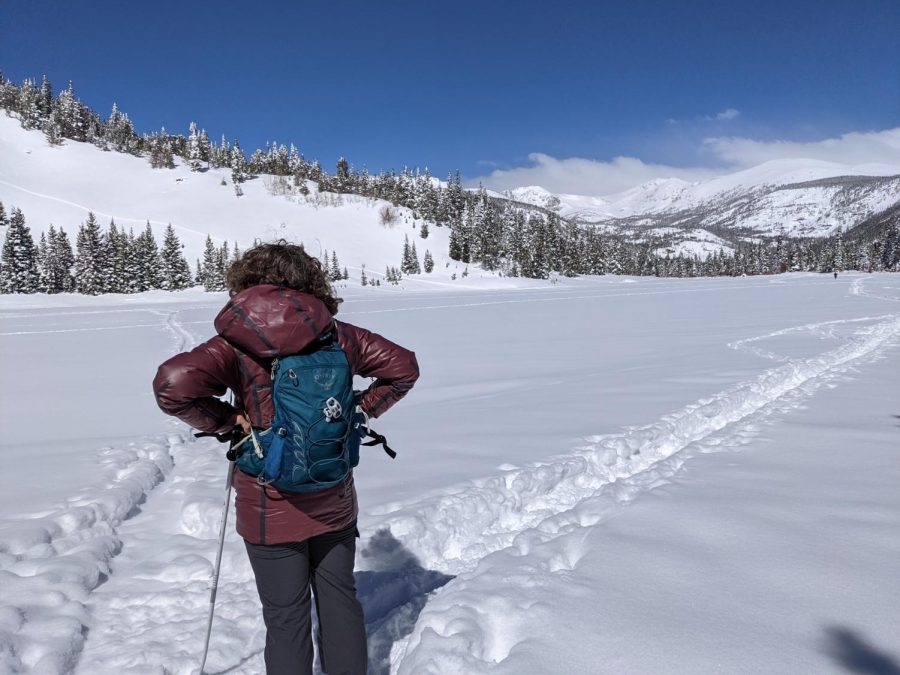 Frau Campbell skiing